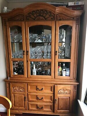 Used pine dining room furniture with extending table, display & corner cabinet