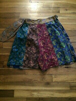 vintage 1940s high waist paisley print cotton shorts