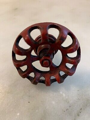 Vintage WATER FAUCET DRAWER PULLS KNOBS Cast Iron ~ Distressed Red