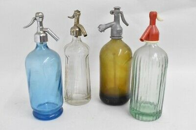 i66b69- 4x alte Siphonflasche, Glas, Metall