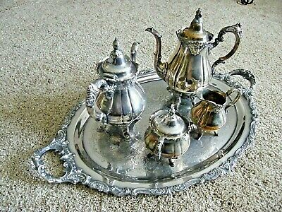 """Vintage 5 Pc. Wallace Baroque Silver Plate Tea Set W/Large Tray """"Beautiful Set"""""""