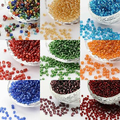 GLASS SEED BEADS SIZE 6/0 (4mm) SILVER LINED 50g CHOICE OF COLOURS (UK STOCK)