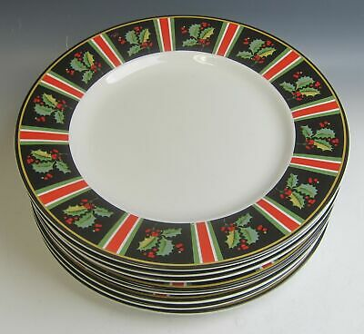 Lot OF 8 Gibson Designs BOUGHS OF HOLLY - STRIPES Dinner Plates MIXED COND