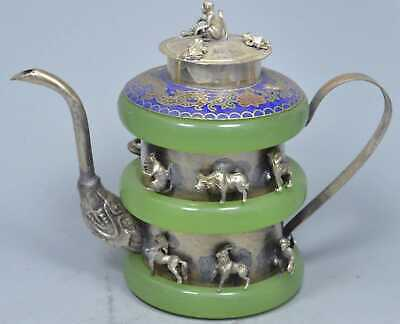 China Collectable Miao Silver Carve 12 Zodiac Inlay Green Jade Exorcism Tea Pot