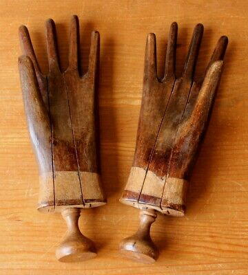 Antique Wooden Hand Mannequins or Glove Stretchers, Wood Treen Hand Shape Lasts