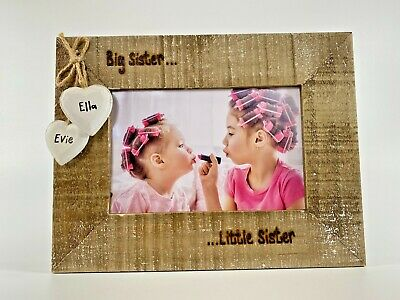 Big Sister Little Brother Personalised Photo Frame Driftwood Wooden New Baby