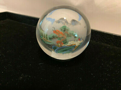 Glass Paperweight with Traditional Chinese Scene inside