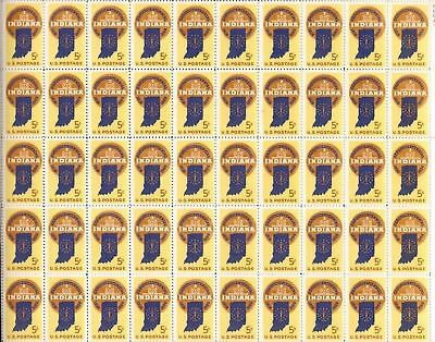 STAMPS FULL SHEET # 1308 Indiana Statehood 5 cent MNH