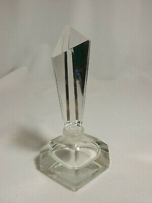 Vintage Perfume Bottle & Stopper Hand Cut Crystal Glass Prism Clear Art Deco