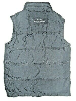 "Boys Large NWT ABERCROMBIE & FITCH Zip Feather Down ""SUMMIT ROCK"" Black Vest"