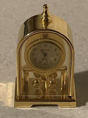 VINTAGE MINIATURE BRASS CLOCK Domed Carriage Clock COLLECTABLE,