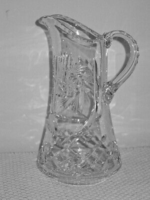 "Stunning Antique Cut Glass 11"" Water Lemonade Pitcher with Handle Pin Wheel Star"