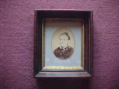 """Antique Gilt Deep Walnut Picture Frame Eastlake Shadow Box For 8 x 10"""""""