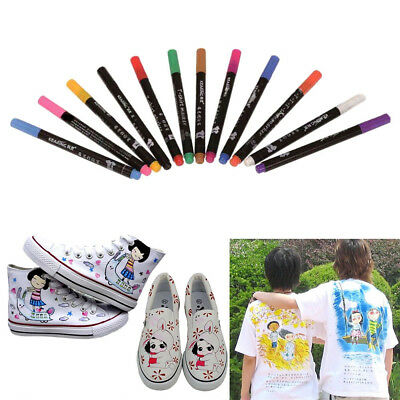 12 Multicolors Permanent Fabric Textile Markers Pens Craft Clothes T-Shirts