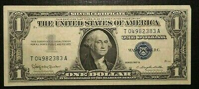 Silver Certificate 1957 B UNITED STATES Blue Seal 1 Dollar  (262K)