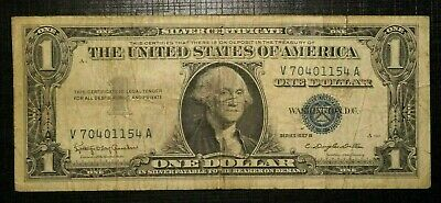 1957 B  UNITED STATES Silver Certificate Blue Seal 1 Dollar  (237K))