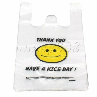 100PCS Plastic Singlet Grocery Shopping Bag Checkout Carrying Bags 20x40cm