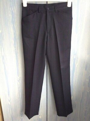 Mens Farah Navy Flat Front Smart Straight Leg Trousers W32 L33""