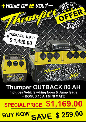 Thumper Outback DC Battery Pack 80 AH with IDC25 wiring loom + jump leads