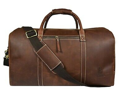20 In Vintage Leather Duffle Bag Travel Luggage Handbag Aircabin Carry-on Duffel