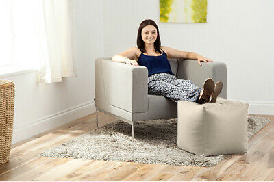 Cream Faux Leather Cube Bean Bag Pouffe Foot Stool Beanbag Footstool Square Seat
