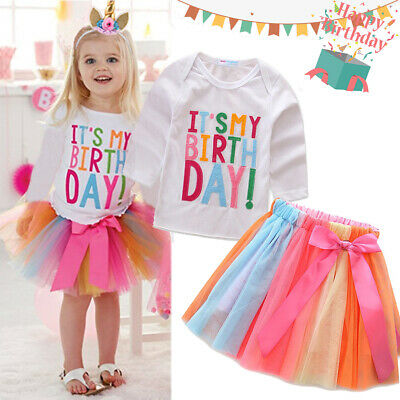 It's My Birthday Kid Girls Unicorn Colorful Tutu Skirt Party Dress Outfit Gifts