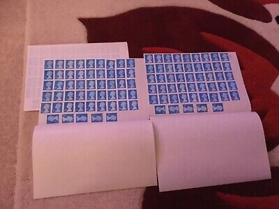 100  x Unfranked, 2nd Class Blue Security stamps, with residue of gum,
