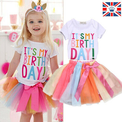 It's My Birthday Kid Girls Unicorn Tulle Tutu Skirt Party Dress Outfit Set Gift