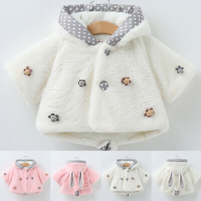 Kids Baby Girl Winter Warm Cloak Fur Coat Toddler Hooded Jacket Outwear Clothes