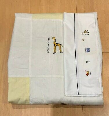 Bubba Blue Embroidered Animal Cot Quilt/Comforter With Pillow Case
