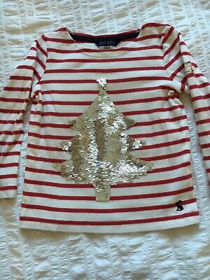 Girls Joules sequin christmas top. Age 5