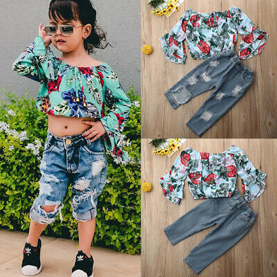 2PCS Toddler Baby Girls Clothes Flower Tops+Ripped Denim Pants Jeans Outfit Set