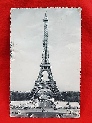 Photo Post Card France Eiffel Tower 1956 Paris