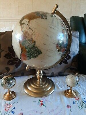 """Large Table Top Semi Precious Stone Globe 21"""" with 2 6"""" globes"""
