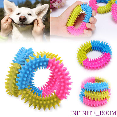 Dog Toy Puppy Soft Rubber Dental Teething Play Pet Train Chew Ring Healthy Gums
