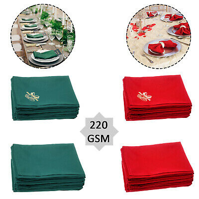 "Spun Polyester Linen Square Table Napkins Christmas Xmas Dinner Party 20"" x 20"""