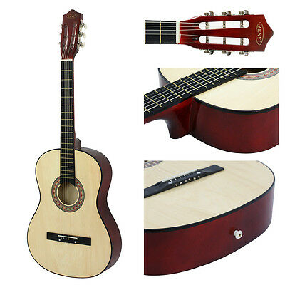 New Beginners Acoustic Guitar With Guitar Case, Strap, Tuner and Pick Burlywood