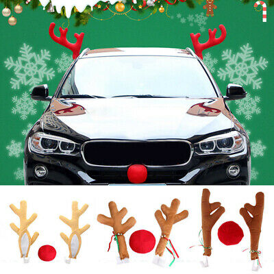 Zento Deals Reindeer Car Antlers and Nose Decoration Set Premium Quality Material Xmas Jingle Bells for Christmas Costume Accessory Set Great for Holidays