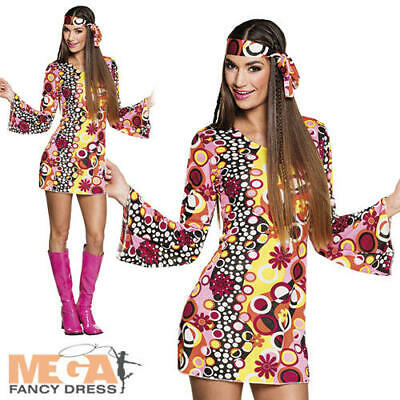 LADIES HIPPIE HIPPY 60S 70S GROOVY RETRO FANCY DRESS COSTUME FLARES UK SIZE 6-28