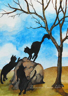 Original ACEO watercolor ART black cats playing happy fall time landscape