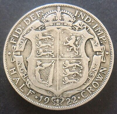 King George V 1922 Half Crown Coin .500 Silver Great Britain Uk
