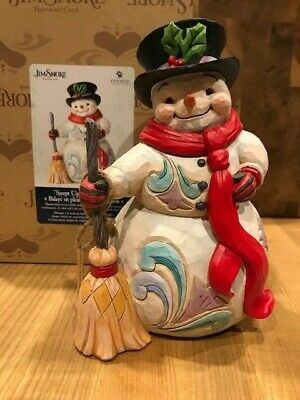 Jim Shore White Woodland Snowman With Broom New 2018 6001408