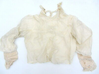 Antique Womens Ladies SMALL WHITE SILK BLOUSE - Handmade Lace Collar