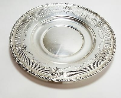 Nice Sterling Silver Pierced Bordered Floral Drapery 10 Inch Plate B3423