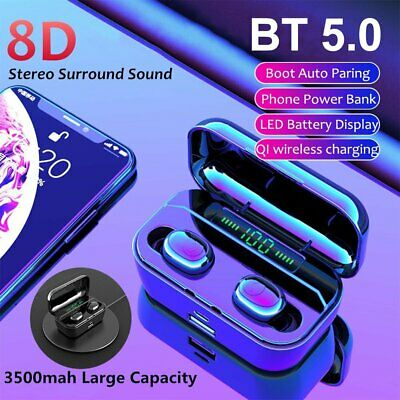 Mini Bluetooth 5.0 Headset TWS Earphones Wireless Earbuds Noise Cancelling IPX7
