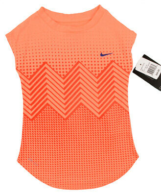 NIKE Girls' Kids' Dri-fit Tee, Patterned T-shirt Top, Bright Mango, size 3-4 y.