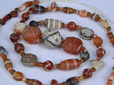Ancient Etch Carnelian Beads Strand Roman 200 BC No Reserve #BD15120