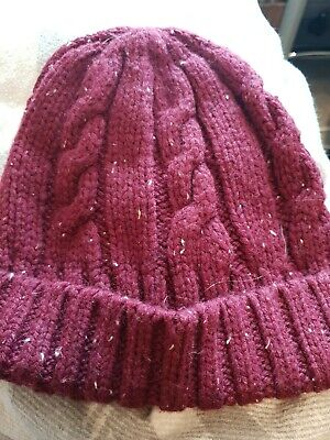 Marks And Spencer Boys Hat Age 6-10 Burgundy Winter