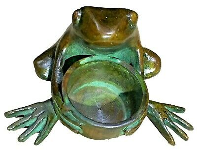 Frog with Candle Stand Brass Incense Burner Ashtray Oil Wick Lamp Paperweight A4