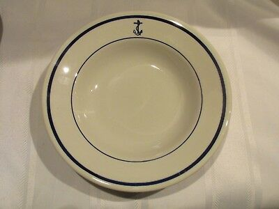 """Vintage Sterling China Wellsville Ohio Usn Navy Soup Bowl 9"""" Blue Fouled Anchor"""